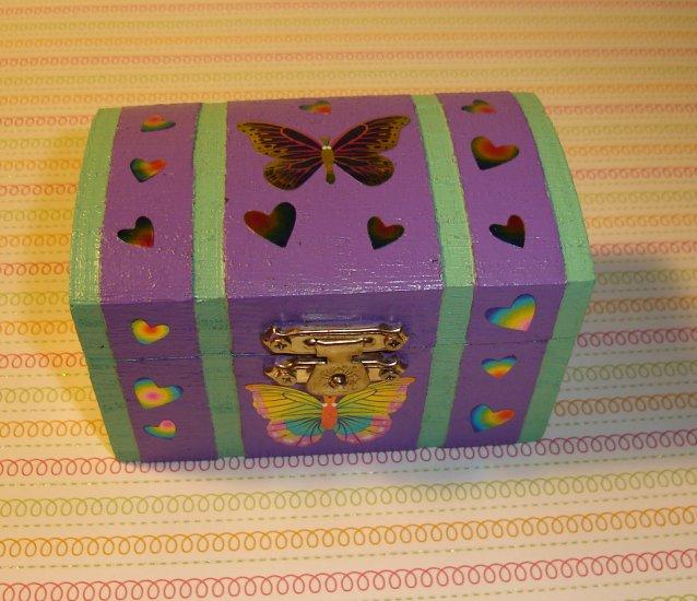 Wooden Purple Butterfly & Hearts Trinket Box