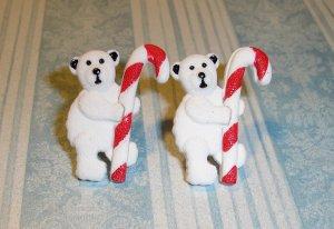 Holiday Winter Polar Bear Candy Cane Earrings