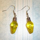 Christmas Holiday Yellow Light Bulb Earrings