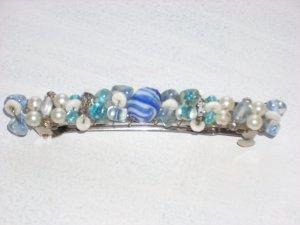 Blue and White Barrette