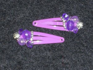 Purple Embellished Hair Clips