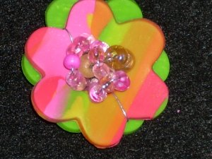 Polymer clay flower Pin with crystals
