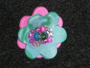Flower Pin in Magenta and Sky Blue.