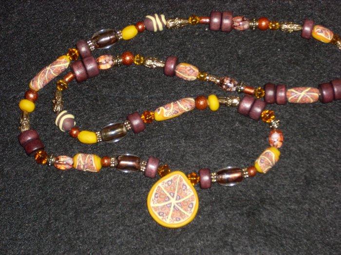 Amazing Kaleidoscopic Drop shape long necklace (Yellow/Brown)