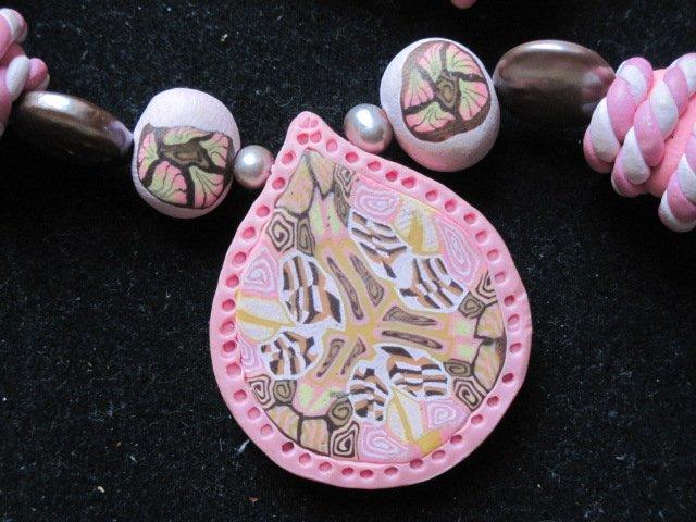 Pink Chocolate long Kaleidoscopic necklace..