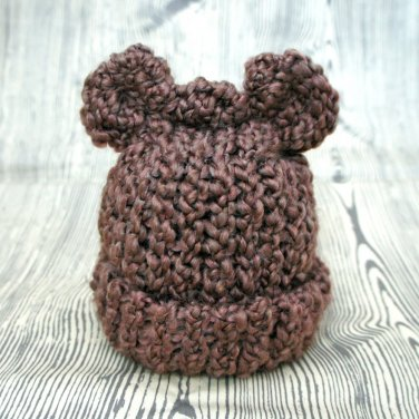 CoCoa Bear Eared Soft Knit Baby Hat  Newborn to Infant Size