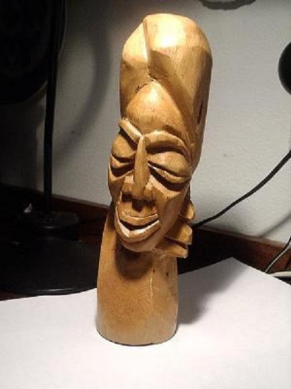 """Primitive? Unique Wood Carved 10"""" Tall Head of a Woman"""