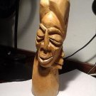 "Primitive? Unique Wood Carved 10"" Tall Head of a Woman"