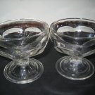 2 Depression Federal Glass Clear Sherbet, Fruit, or Desert Glasses or Cups