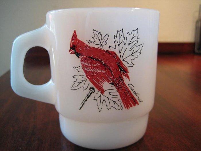 Vintage Anchor Hocking Fire King Mug - Cardinal and Blue Jay