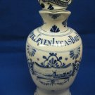 Antique Porceleyne Fles Royal Delft Bols Decanter Liquor Bottle & Stopper