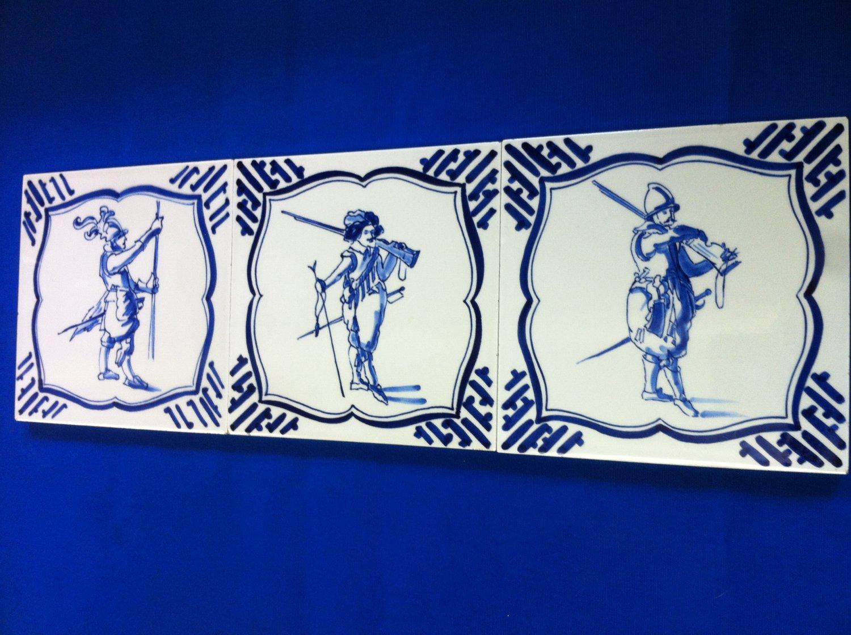 3 Vintage De Porceleyne Fles Royal Delft Square Tiles