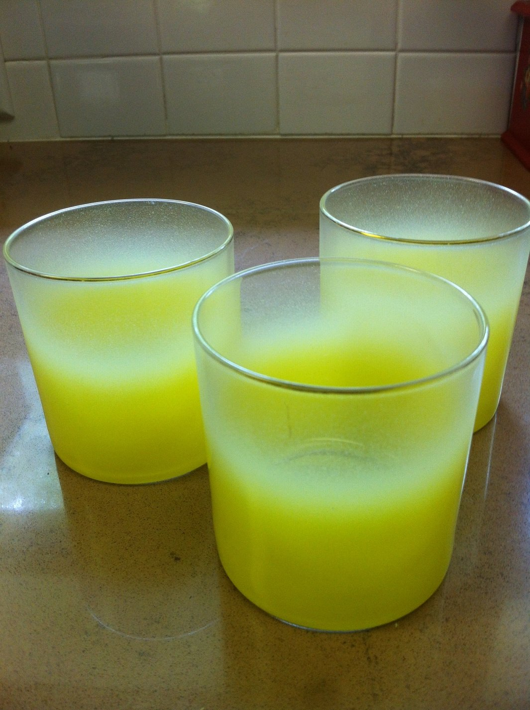 3 Vintage Sunny Yellow Frosted Glass Tumblers