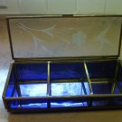 "6"" Vintage Rectangular Brass & Purple Glass Footed Box"