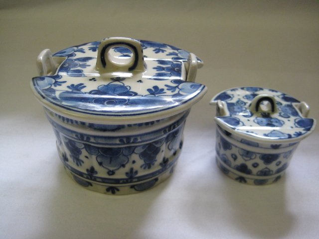 2 - Zenith Gouda Hand Painted Delft Butter Tubs