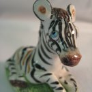Vintage Basil Matthews England Striped Zebra with Blue Eyes Figurine