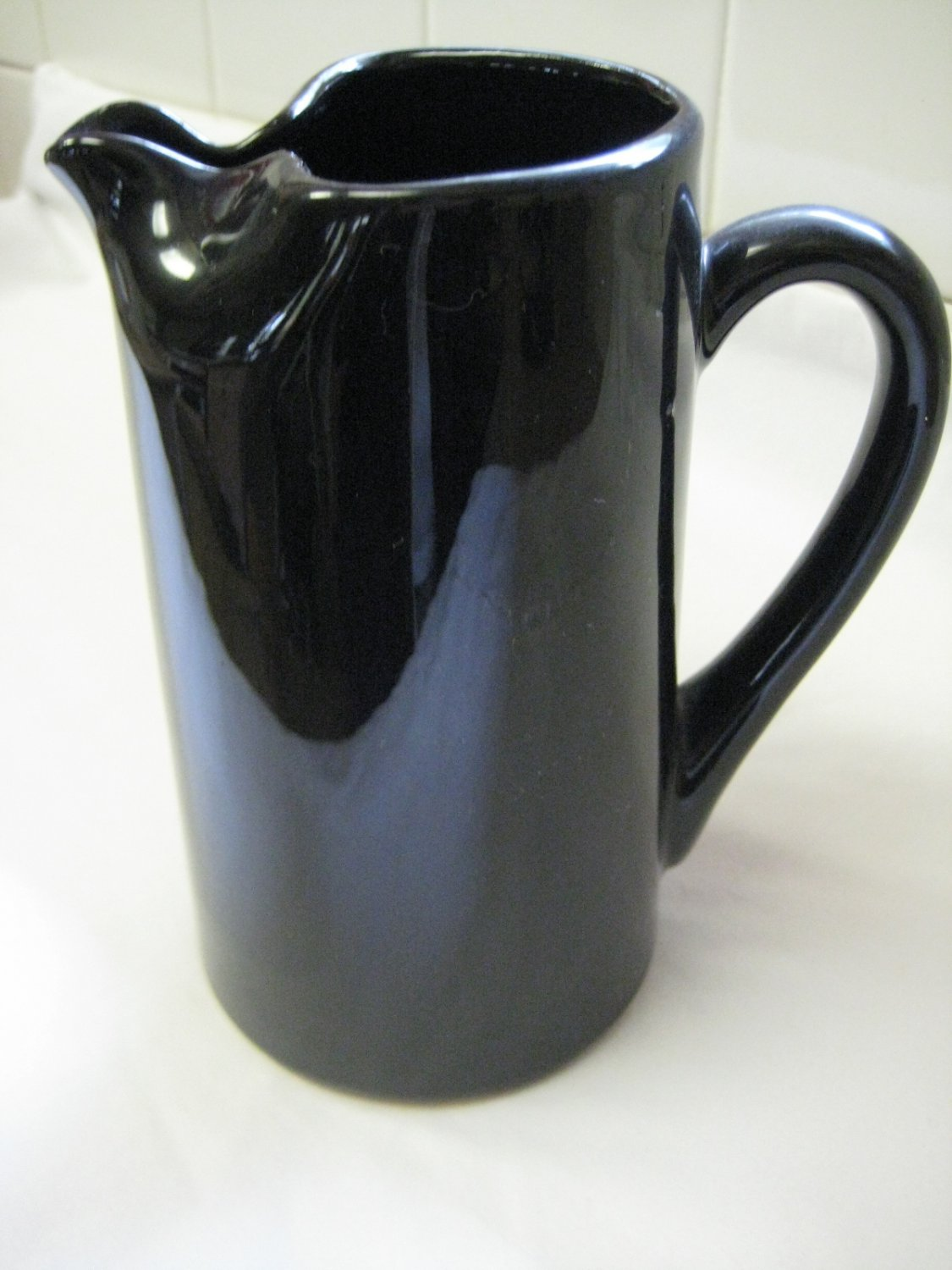 Vintage Black Pottery Ceramic or Stoneware Pinched Spout Pitcher