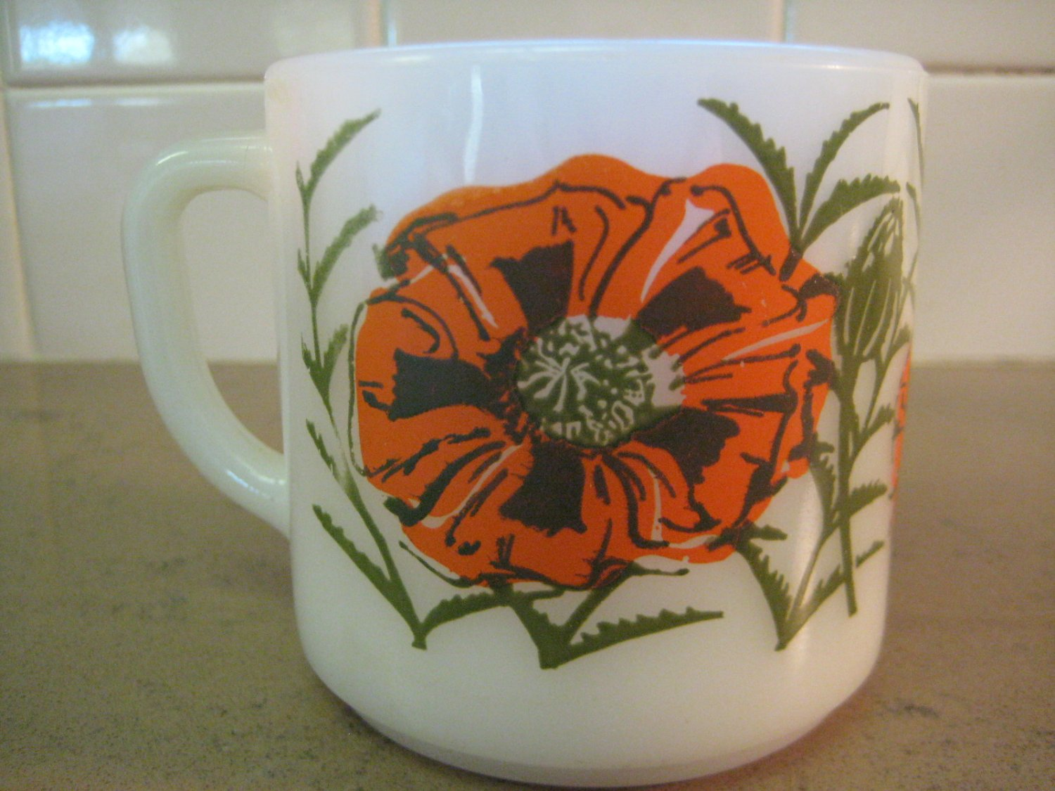 Collectible Federal Glass Mug - Poppy Flowers