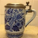 Royal Delft De Porceleyne Fles Large Tankard/Stein with Pewter Lid