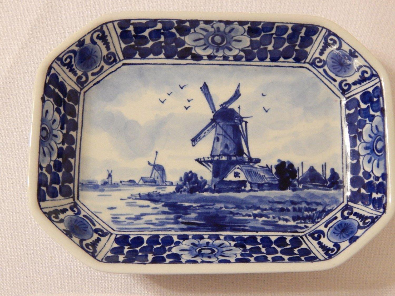 Royal Delft De Porceleyne Fles Octagon Shaped Windmill Dish