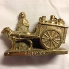 Antique Bruges Cast Brass Dog Peasant Woman Figurine Belgium Milk Cart