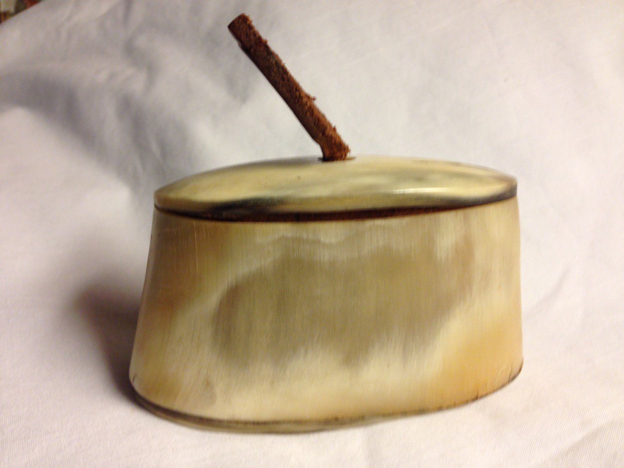 Antique Table Snuff Box of Horn Wood Leather