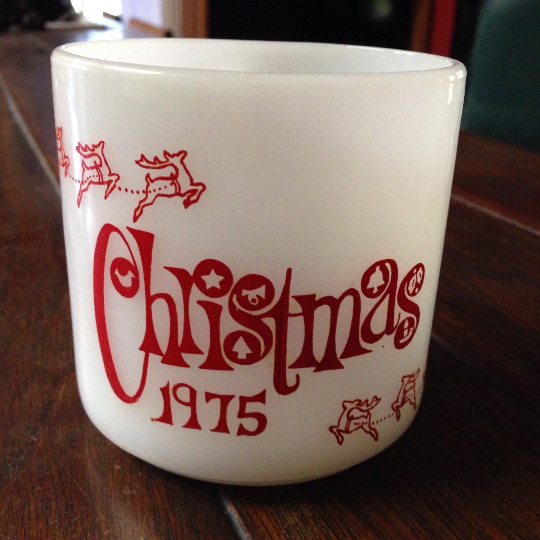 Collectible Federal Glass Milk Glass Cup Mug Christmas 1975