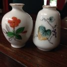 2 Miniature Porcelain Hand Painted Vases - Made in Japan