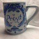 """Royal Delft De Porceleyne Fles Blue and White """"Prosit"""" Beer Mug/Stein"""