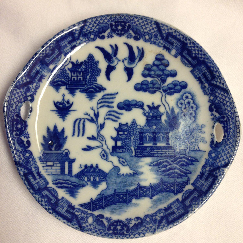 "Blue Willow Child's Tea Set Round Handled 5"" Serving Platter Japan"
