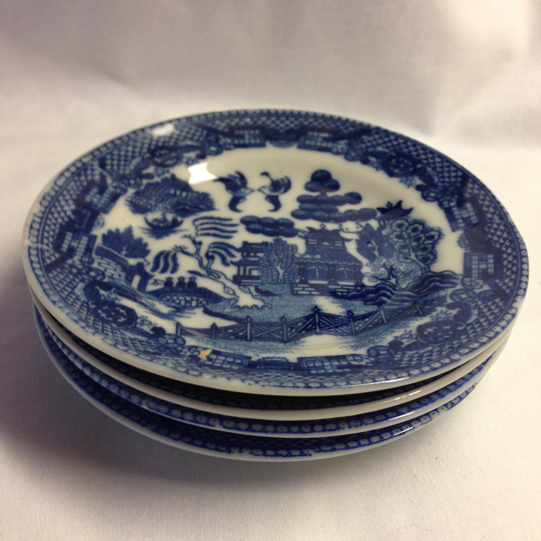 4 Blue Willow Child's Tea Set 3-1/2-inch Plates Japan