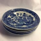 4 Blue Willow Child's Tea Set 3-1/2-inch Plates Japan