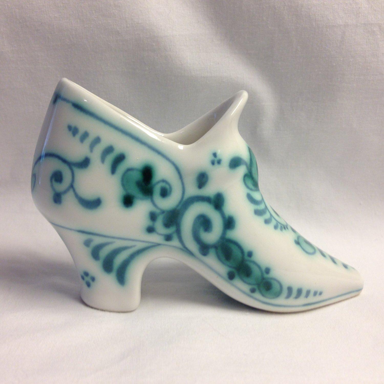 1971 Royal Delft Koninklijke Porceleyne Fles Delvert Blue-Green Heeled Boot Shoe