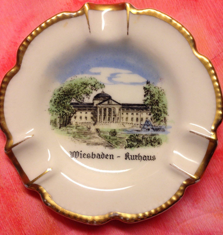 Hand Painted Porcelain Souvenir Ashtray Made By Waldershof  Of Bavaria Germany