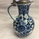 OUD Delft Hand Painted Large Jug with Pewter Lid