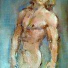 Original art,semi nude,gay art interest,sexy boy in love,male torso,muscle man portrait