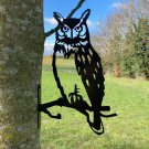 Metal Owl garden decor - fix to tree/fence/shed
