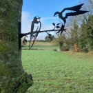 Metal Swallows garden decor - fix to tree/fence/shed