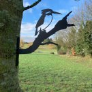 Metal Kingfisher garden decor - fix to tree/fence/shed