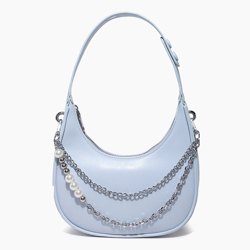Underarm Handbag Pearl Chain One Shoulder Crossbody Saddle Bag