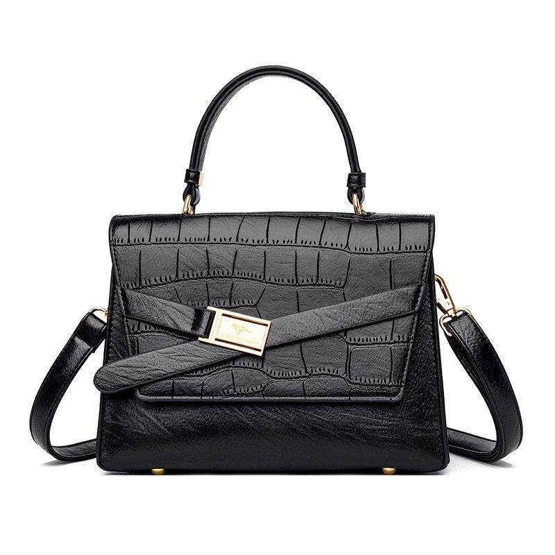 Large Capacity Leather Handbag Purses Fashion Stone Pattern Shoulder Crossbody
