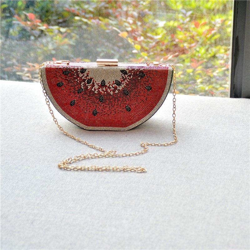Women Trendy Diamond Studded Diagonal Evening Handbag