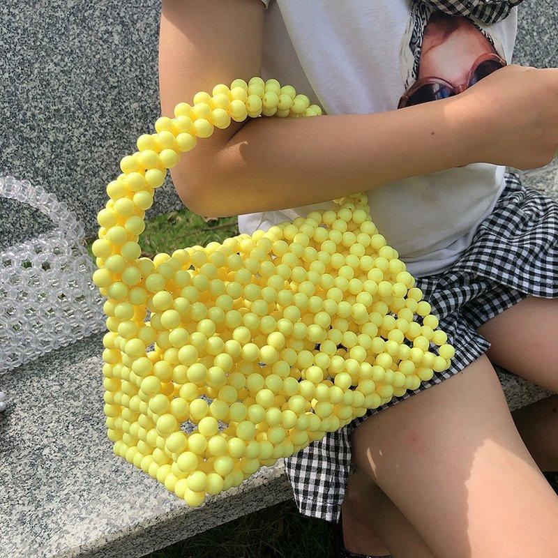 Beaded Triangle Color Acrylic Three Dimensional Handbag