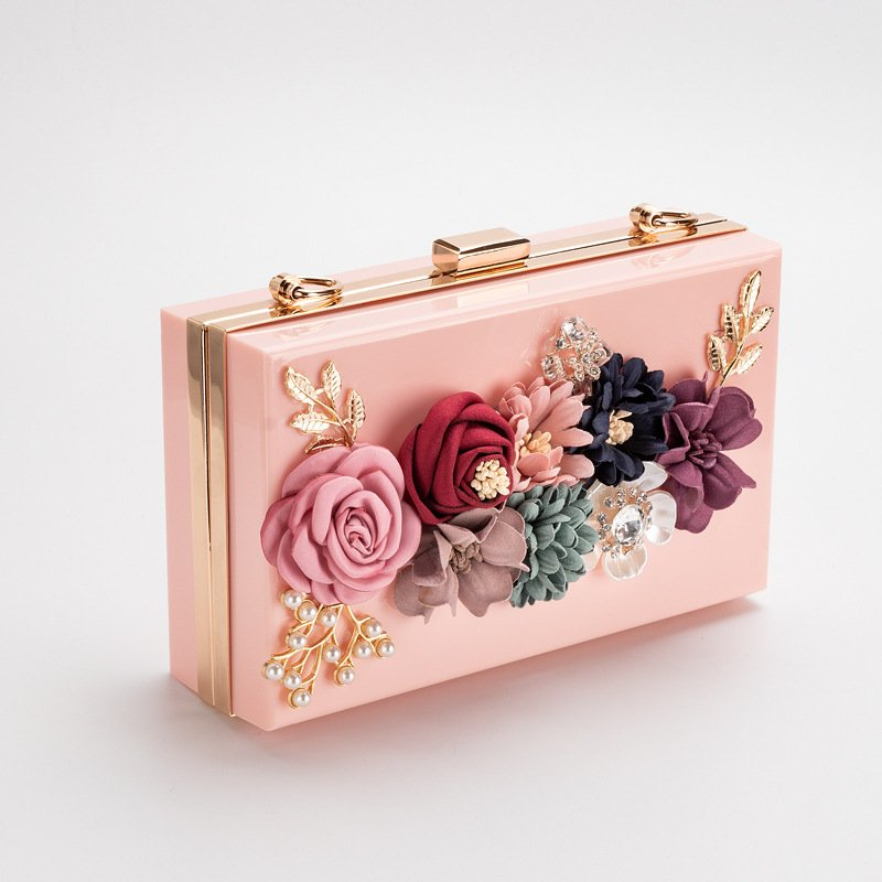Pearl Hand Chain Pink Flower Thick Chain Bag