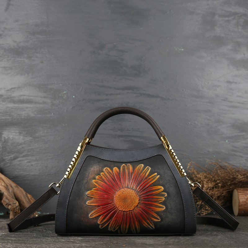 Messenger Leather Sunflower Embossed Lady's Handbag