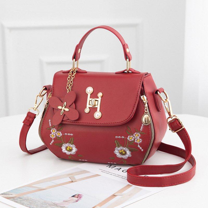 Embroidered One Shoulder Messenger Handbag