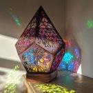 Floor Lamp Starry Sky Lights Wooden Table Bohemian Style Decor
