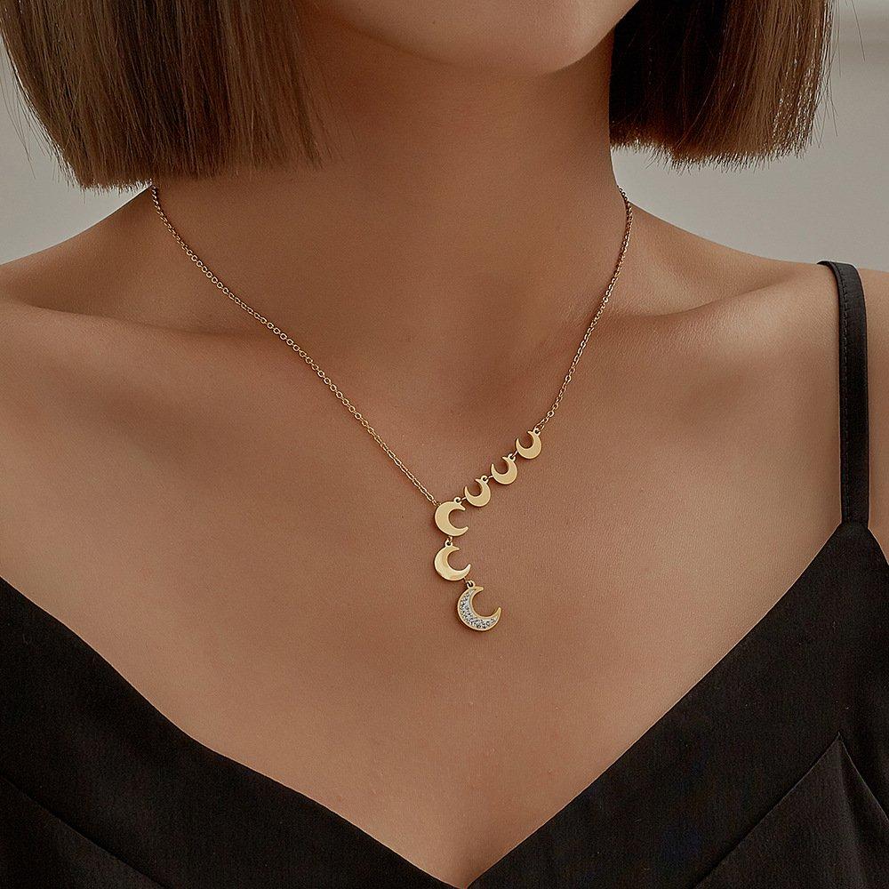 Gold Plated Moon Diamond Tassel Chain