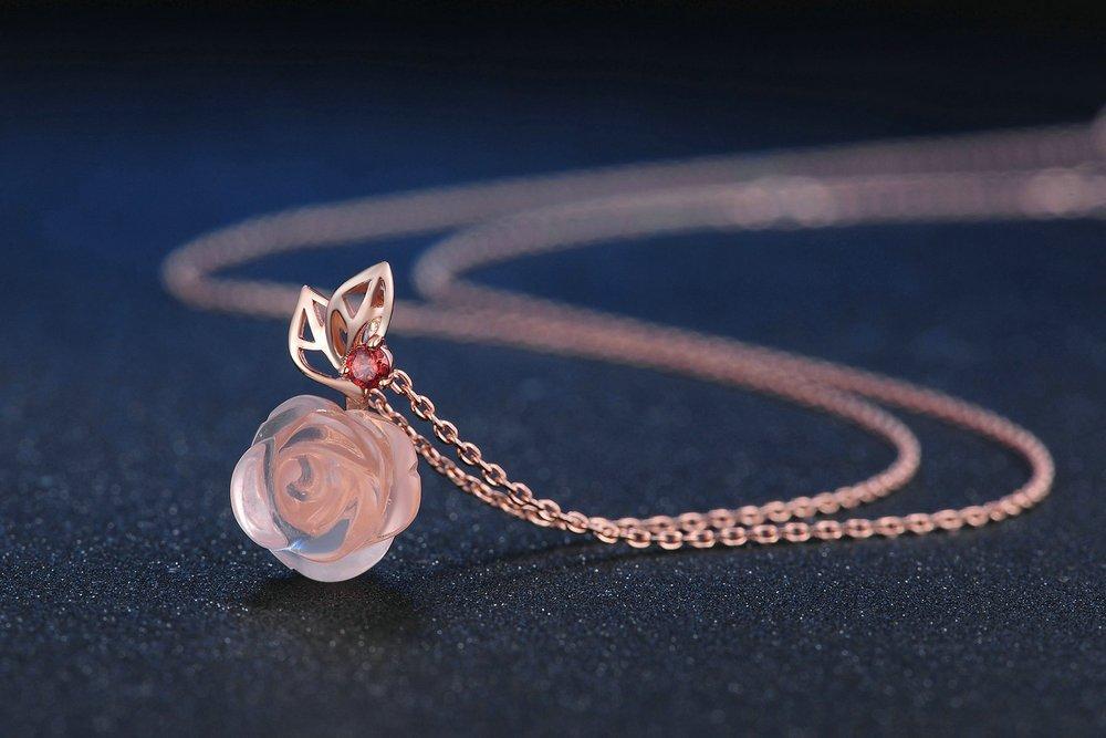 Rose Hibiscus Pendant Necklace