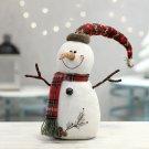 Christmas Decoration Plush Doll White Snowman Figurine Hooded Scarf
